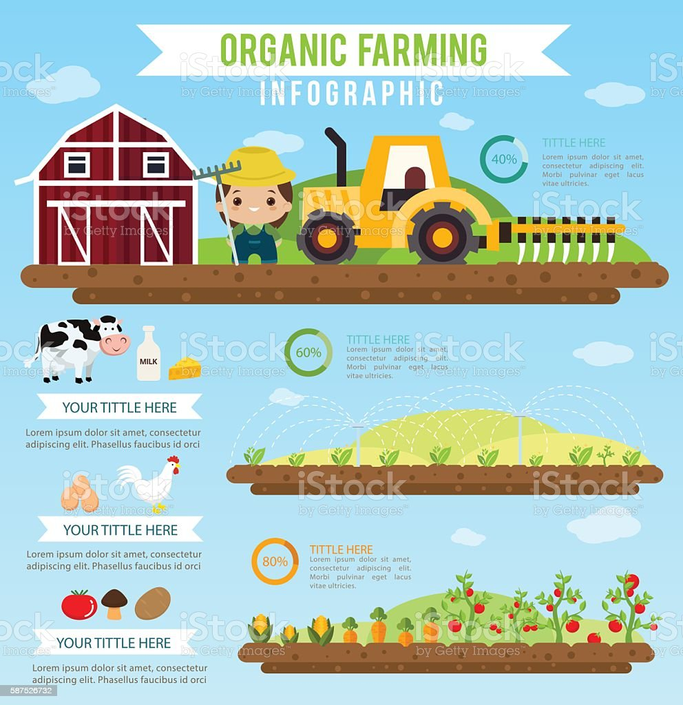 Organic farming  and clean food healthy infographic. vector art illustration