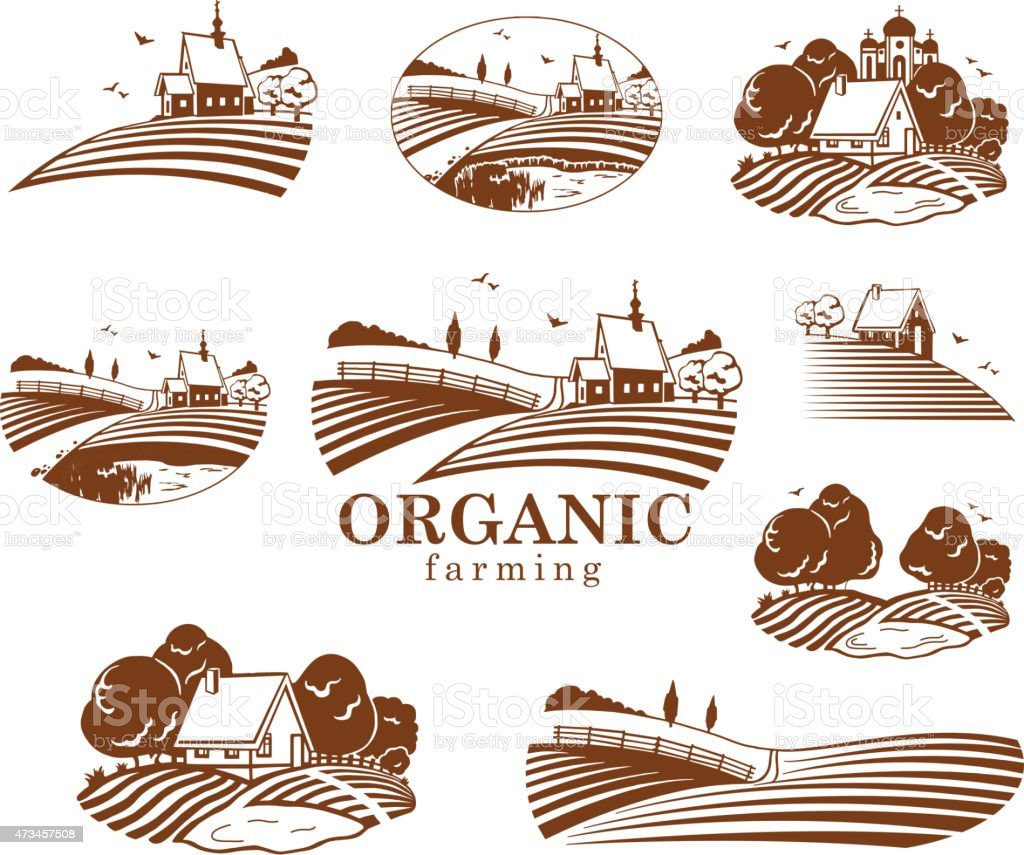 Organic farming design elements. vector art illustration
