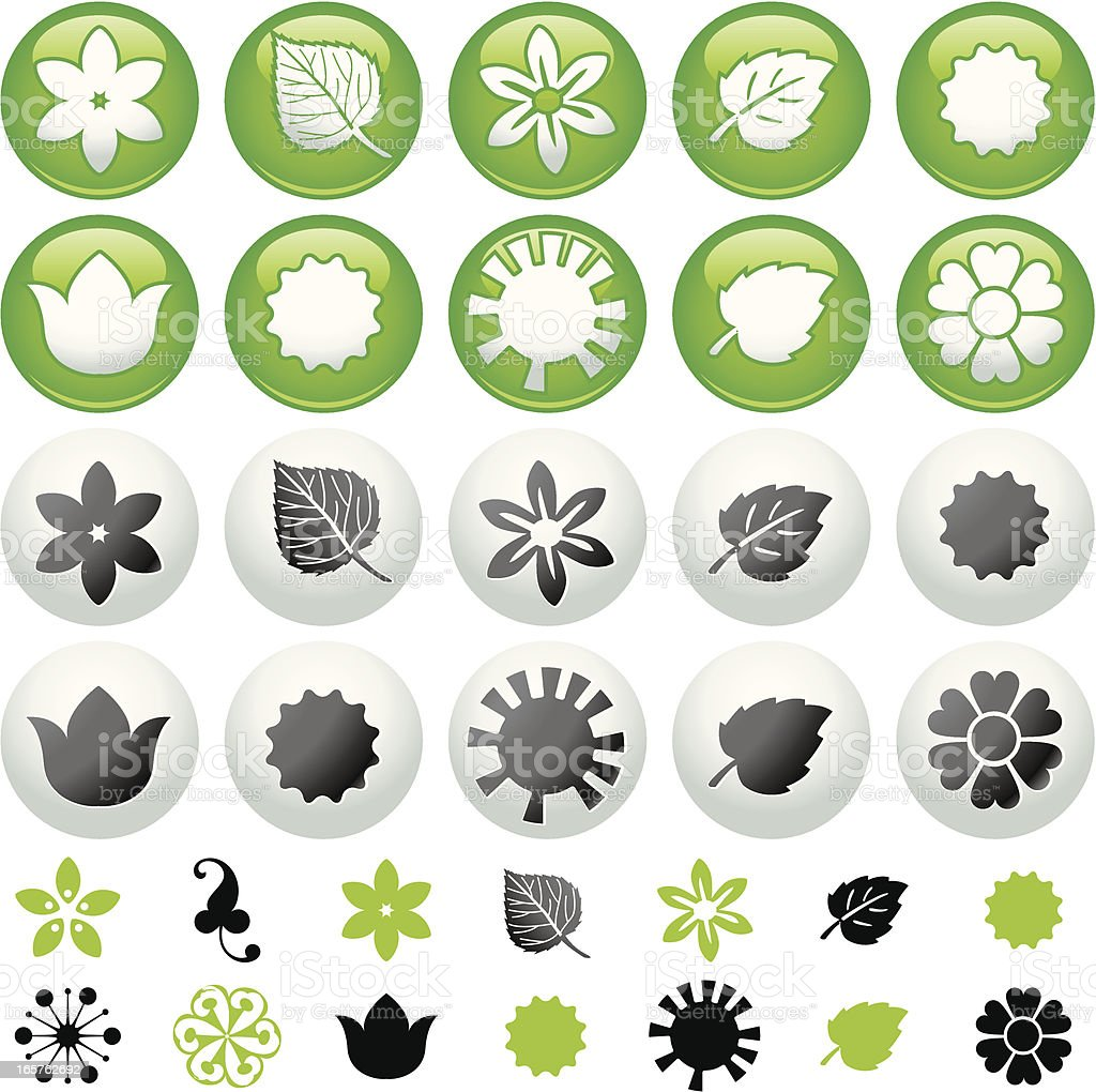 Organic flower icon buttons royalty-free stock vector art