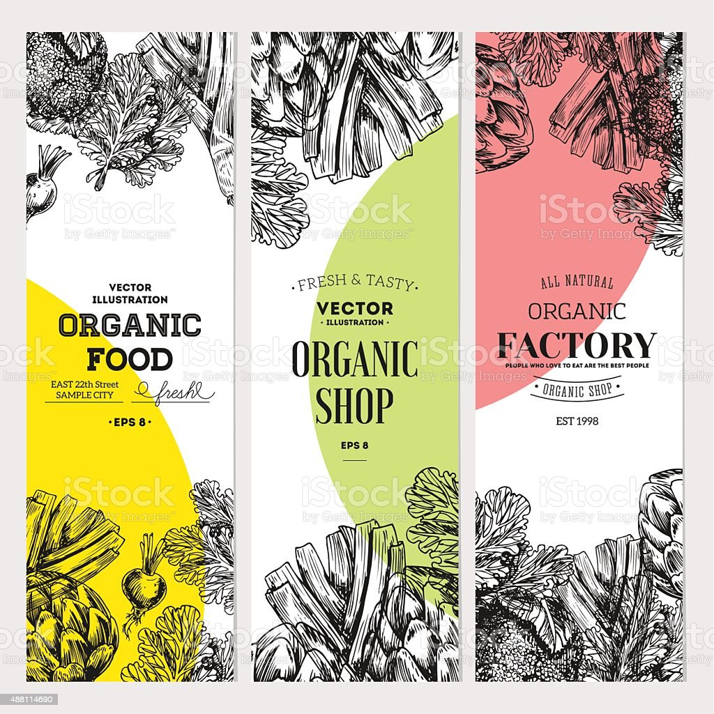 Organic food banner collection. Fresh vegetables. Vector illustration vector art illustration