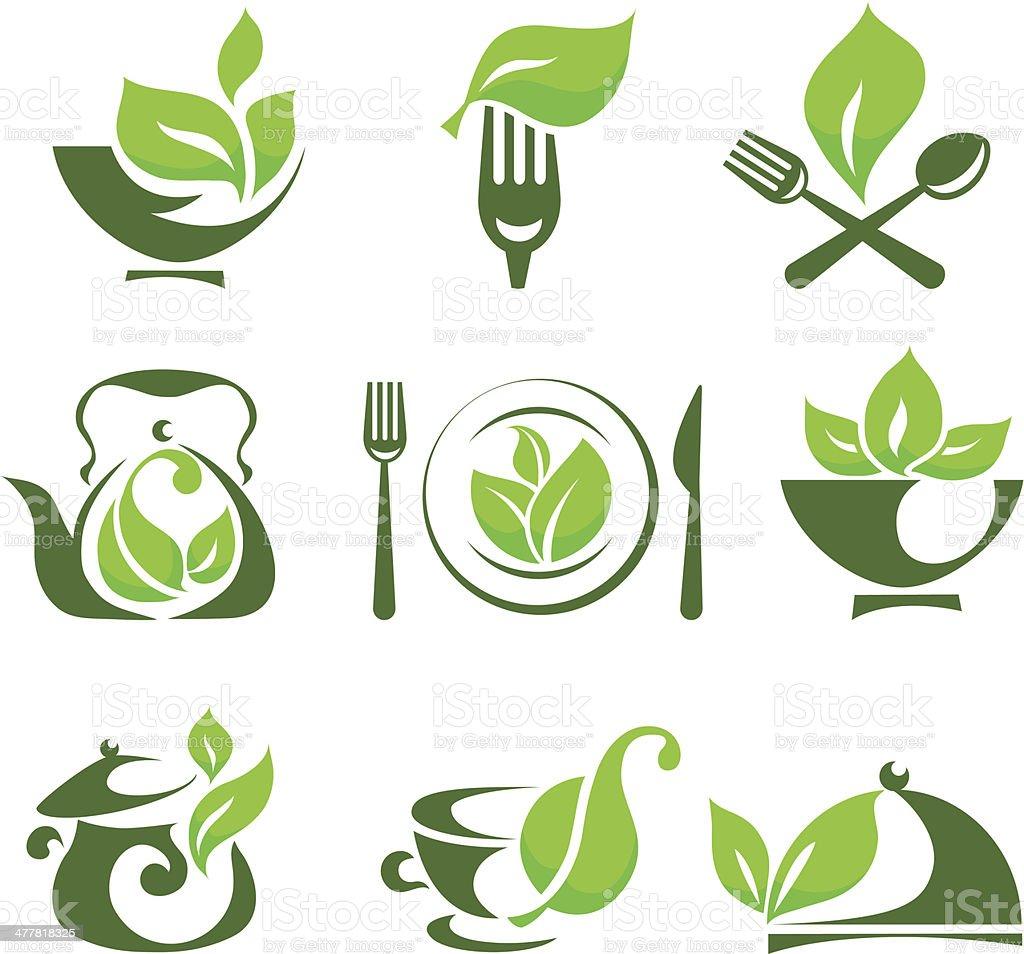 Organic food design elements vector art illustration