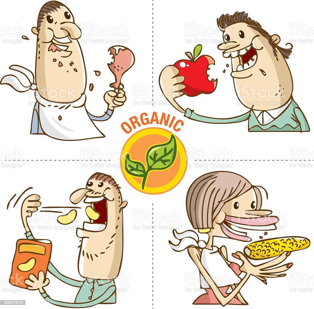 organic food eaters vector vector art illustration
