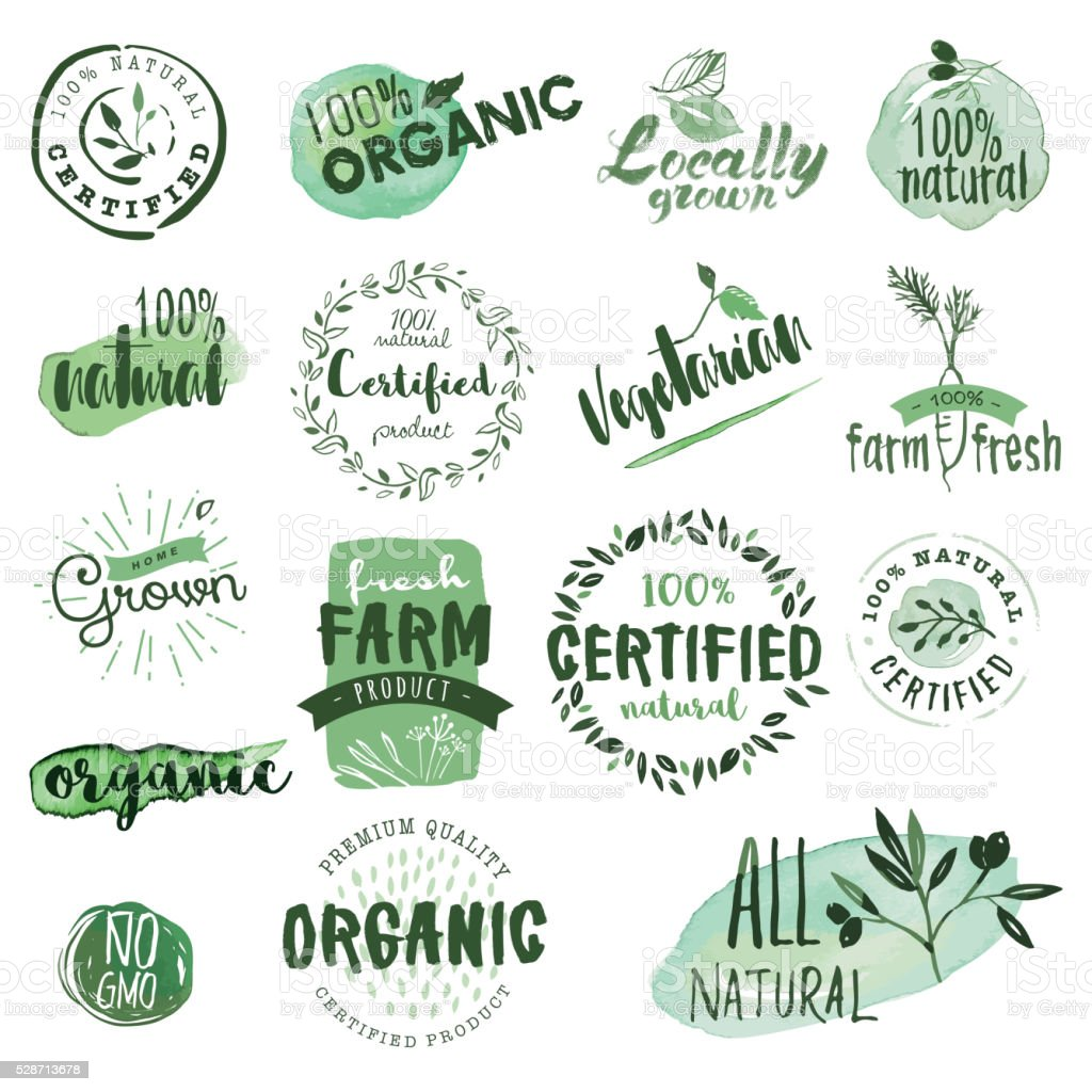 Organic food labels and badges vector art illustration