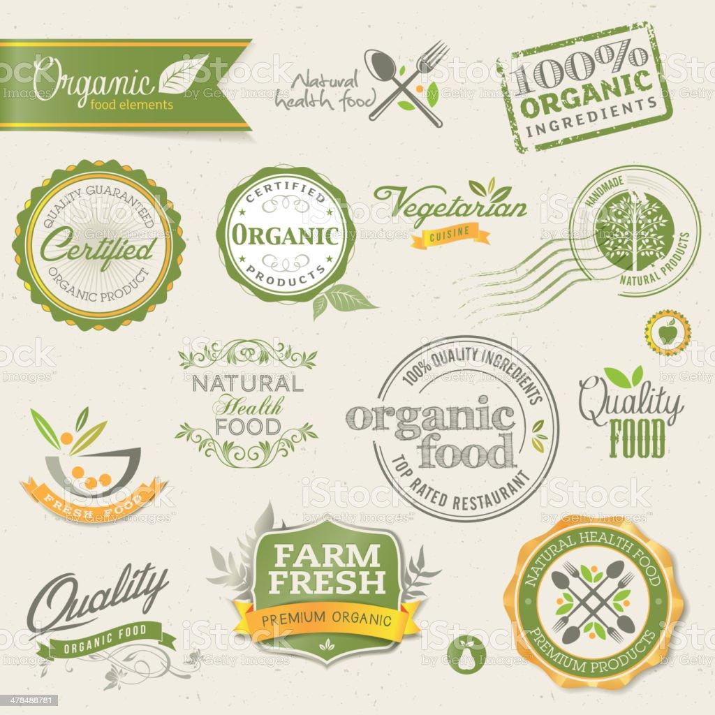 Organic food labels and elements vector art illustration