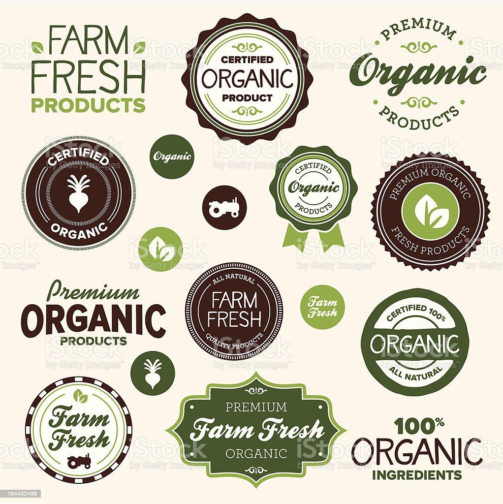 Organic food labels vector art illustration