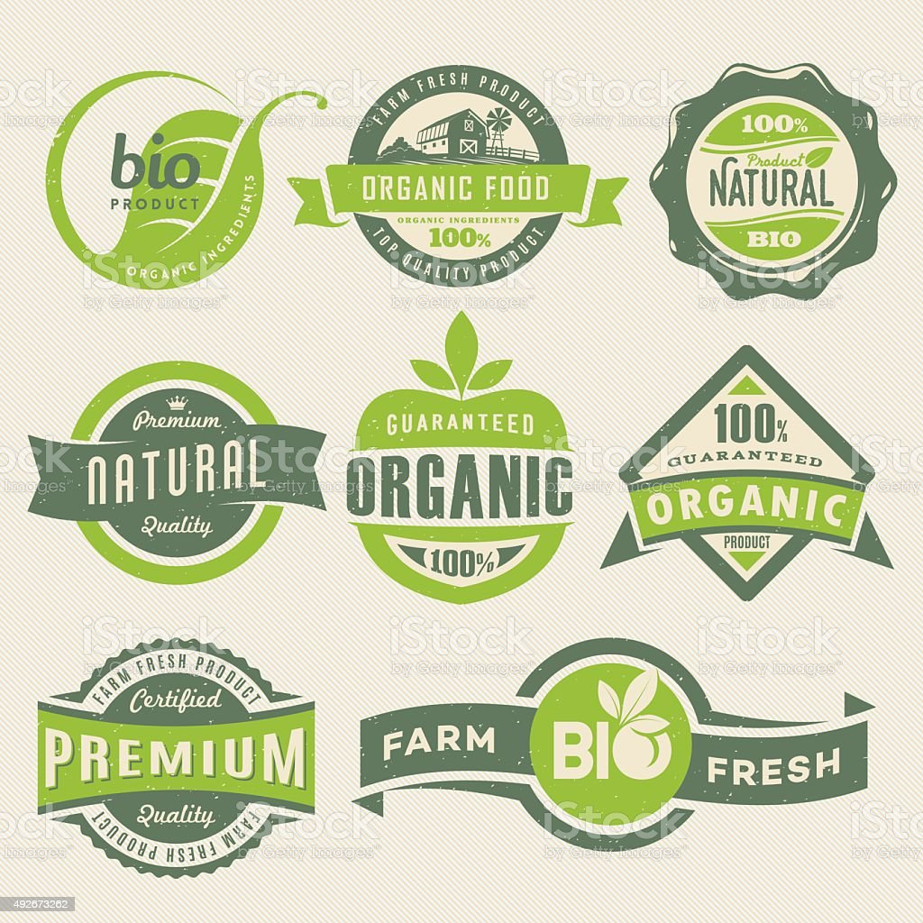 Organic Food Labels vector art illustration