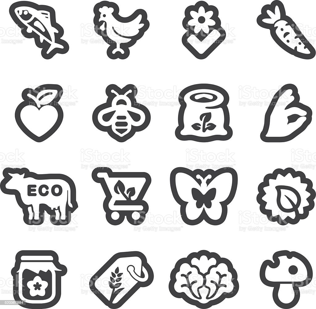 Organic Food line icons | EPS10 vector art illustration