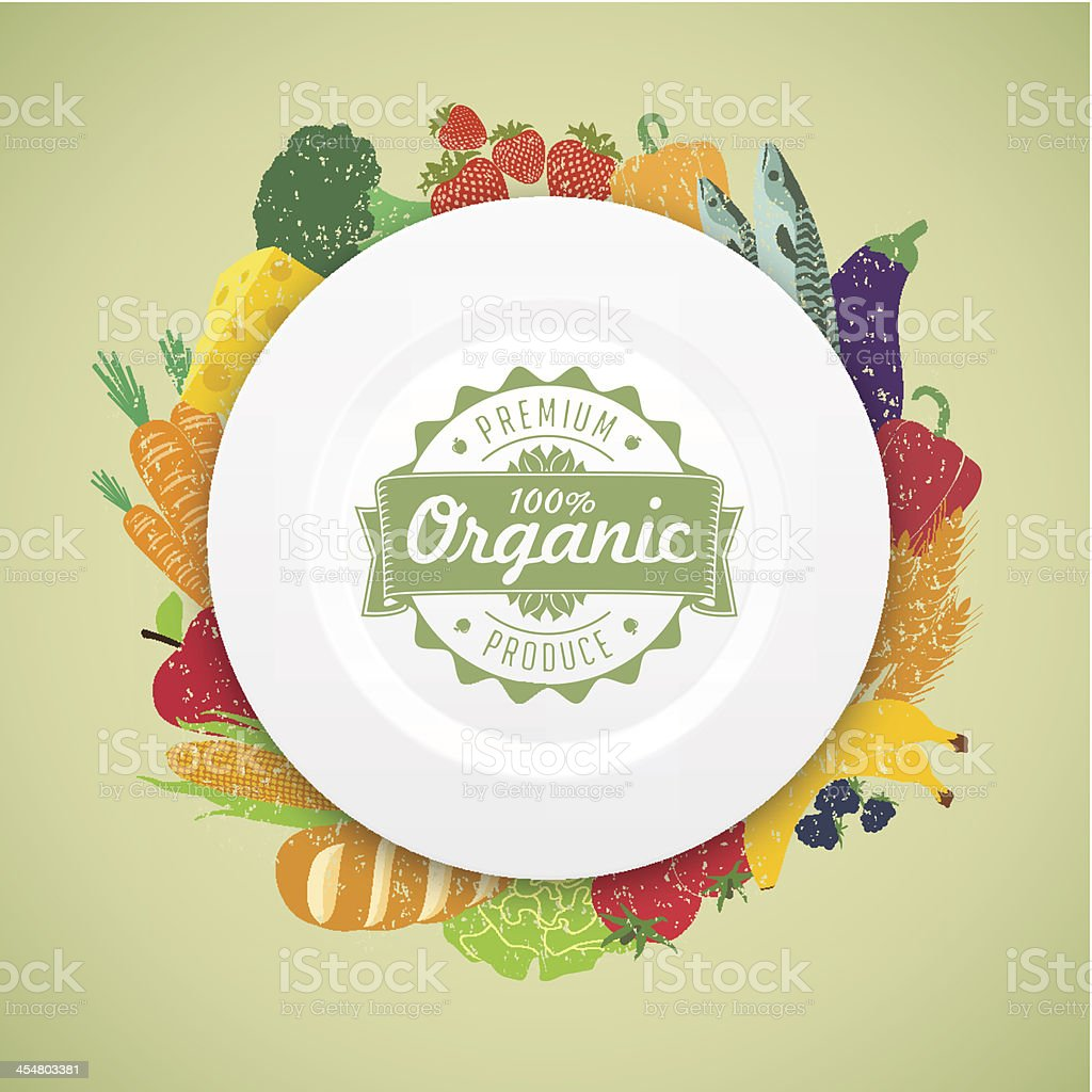 Organic food plate with healthy fresh produce, a balanced diet vector art illustration