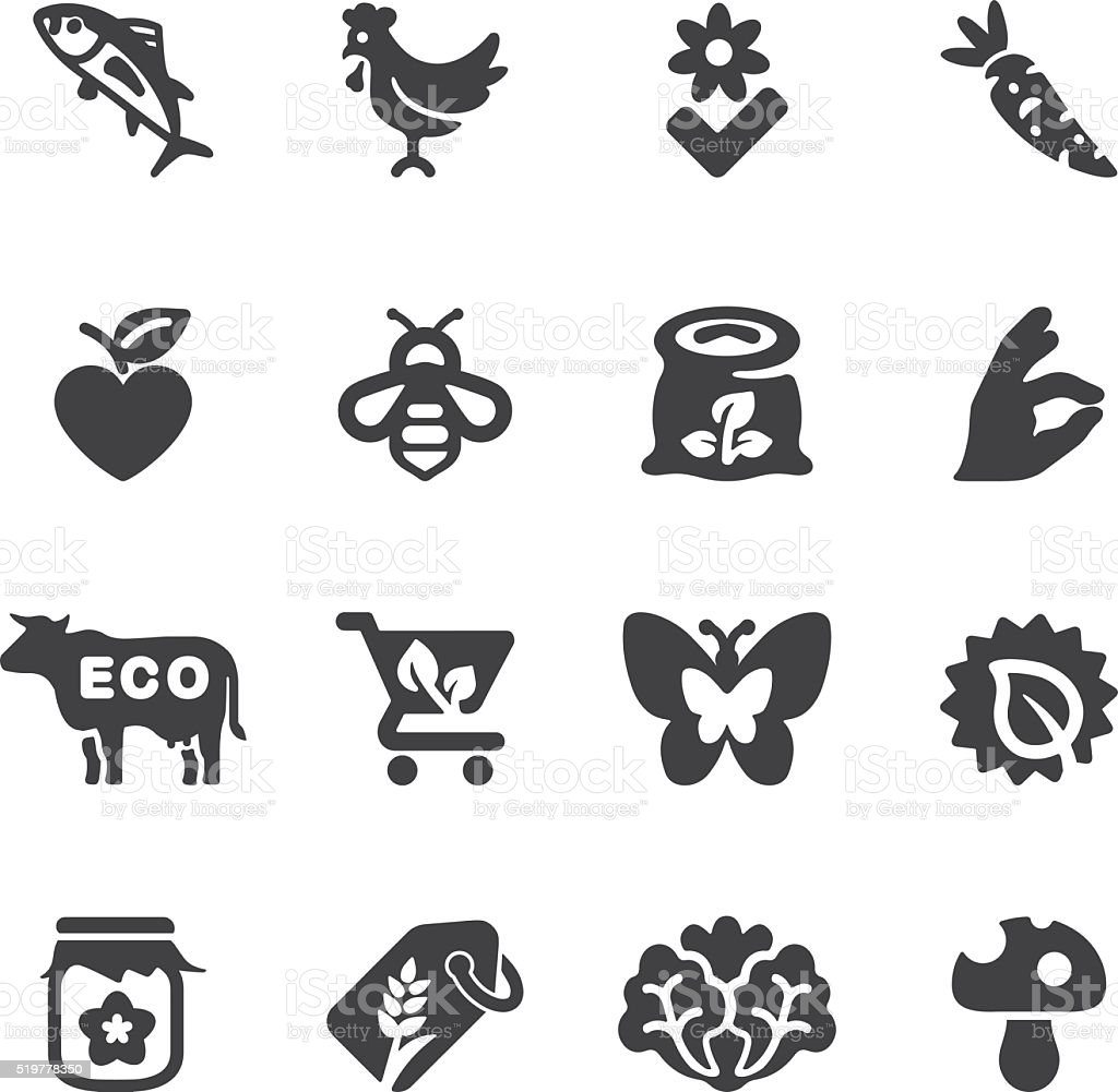 Organic Food Silhouette icons | EPS10 vector art illustration