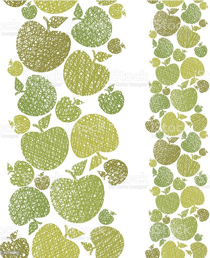Organic food theme seamless background, Apples seamless pattern, royalty-free stock vector art