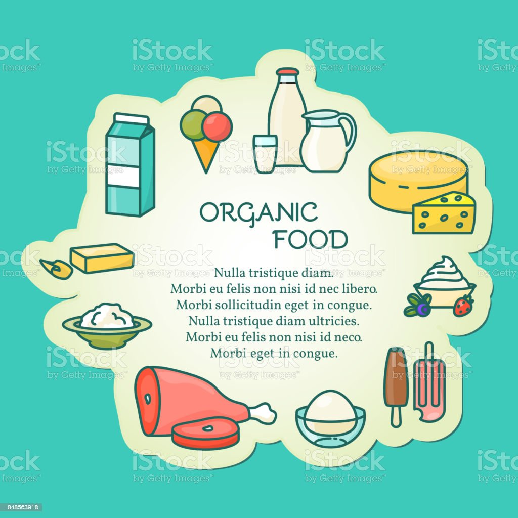Organic food vector illustration in linear style vector art illustration