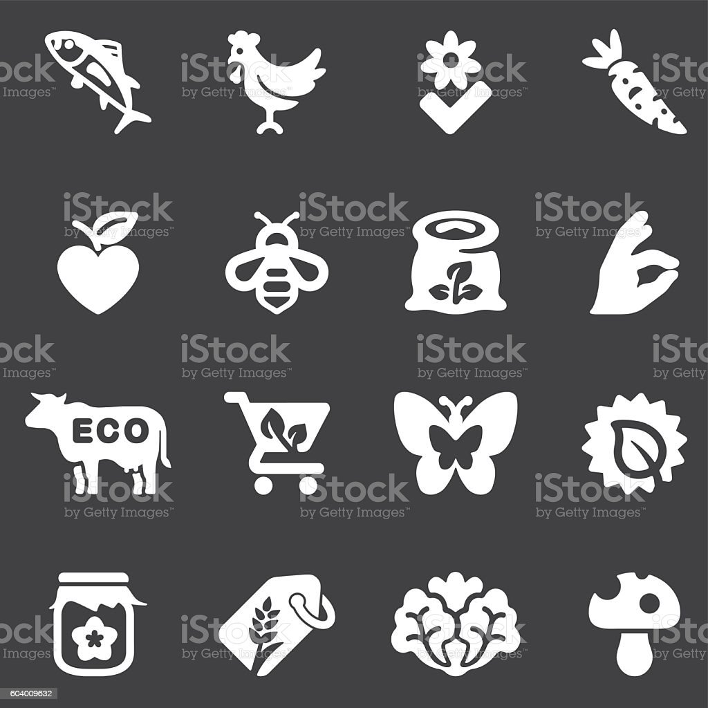 Organic Food White Silhouette icons | EPS10 vector art illustration