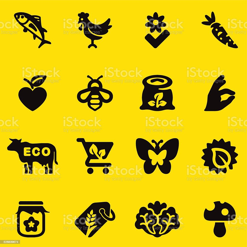 Organic Food Yellow Silhouette icons | EPS10 vector art illustration