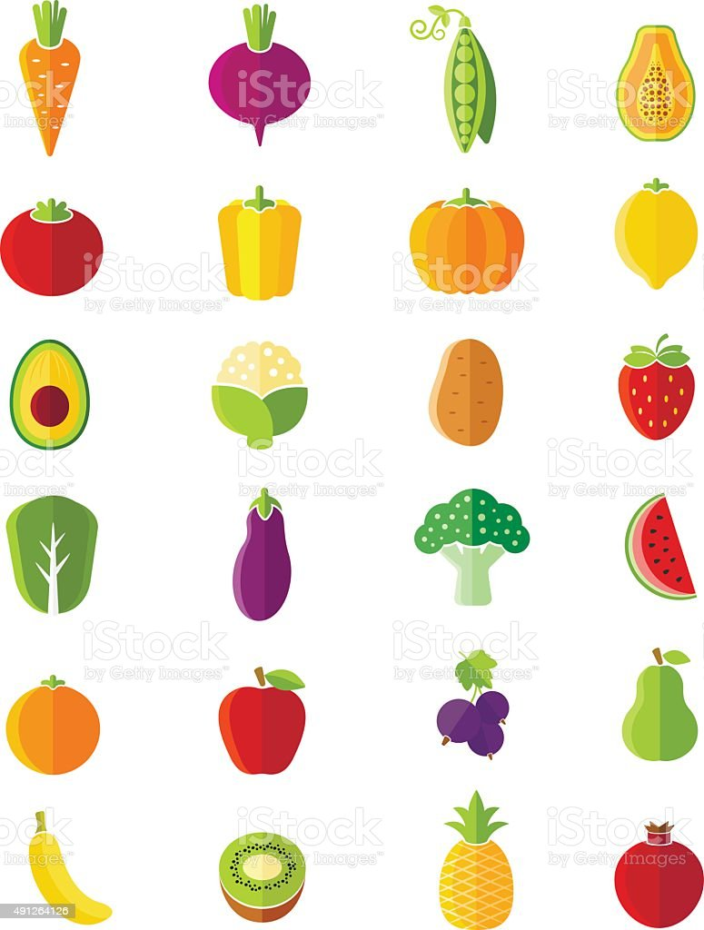 Organic fruits and vegetables flat style icons set vector art illustration