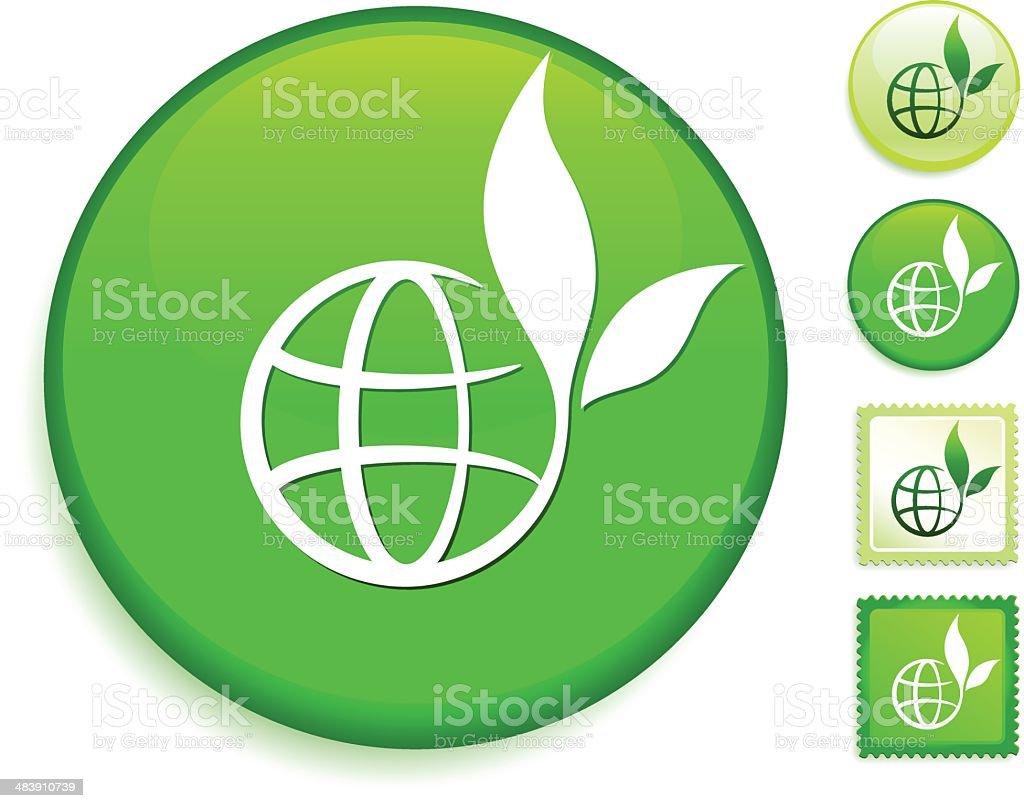 organic globe on green environmental conservation button royalty-free stock vector art