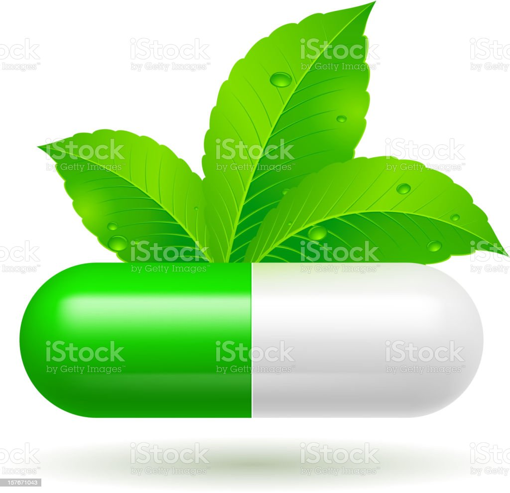 Organic green and white capsule royalty-free stock vector art