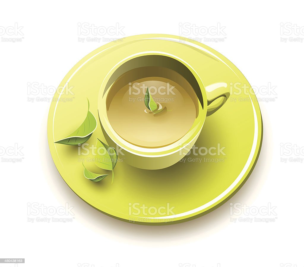 Organic green tea vector art illustration