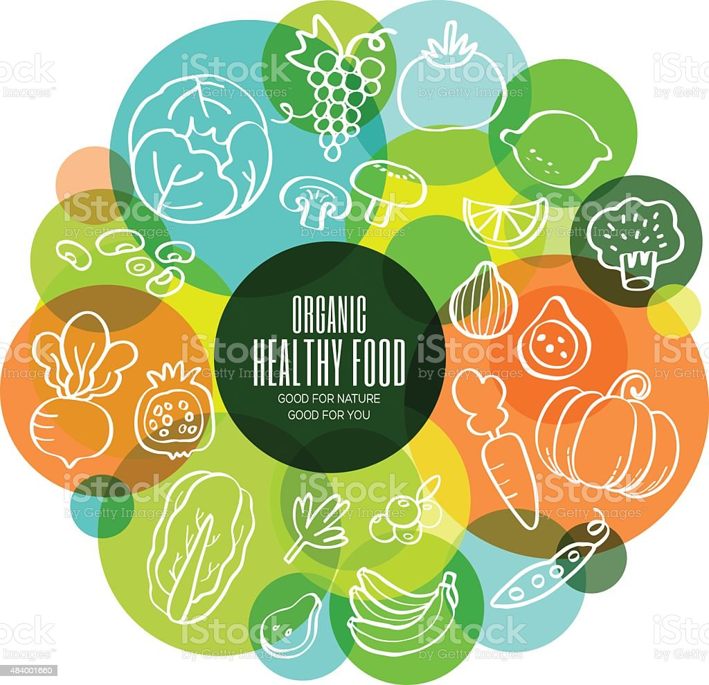 Organic healthy fruits and vegetables conceptual illustration vector art illustration