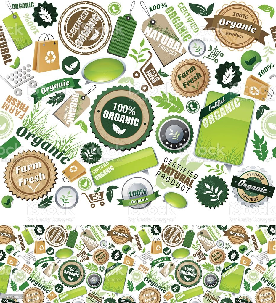Organic icons - repeat seamless pattern vector art illustration
