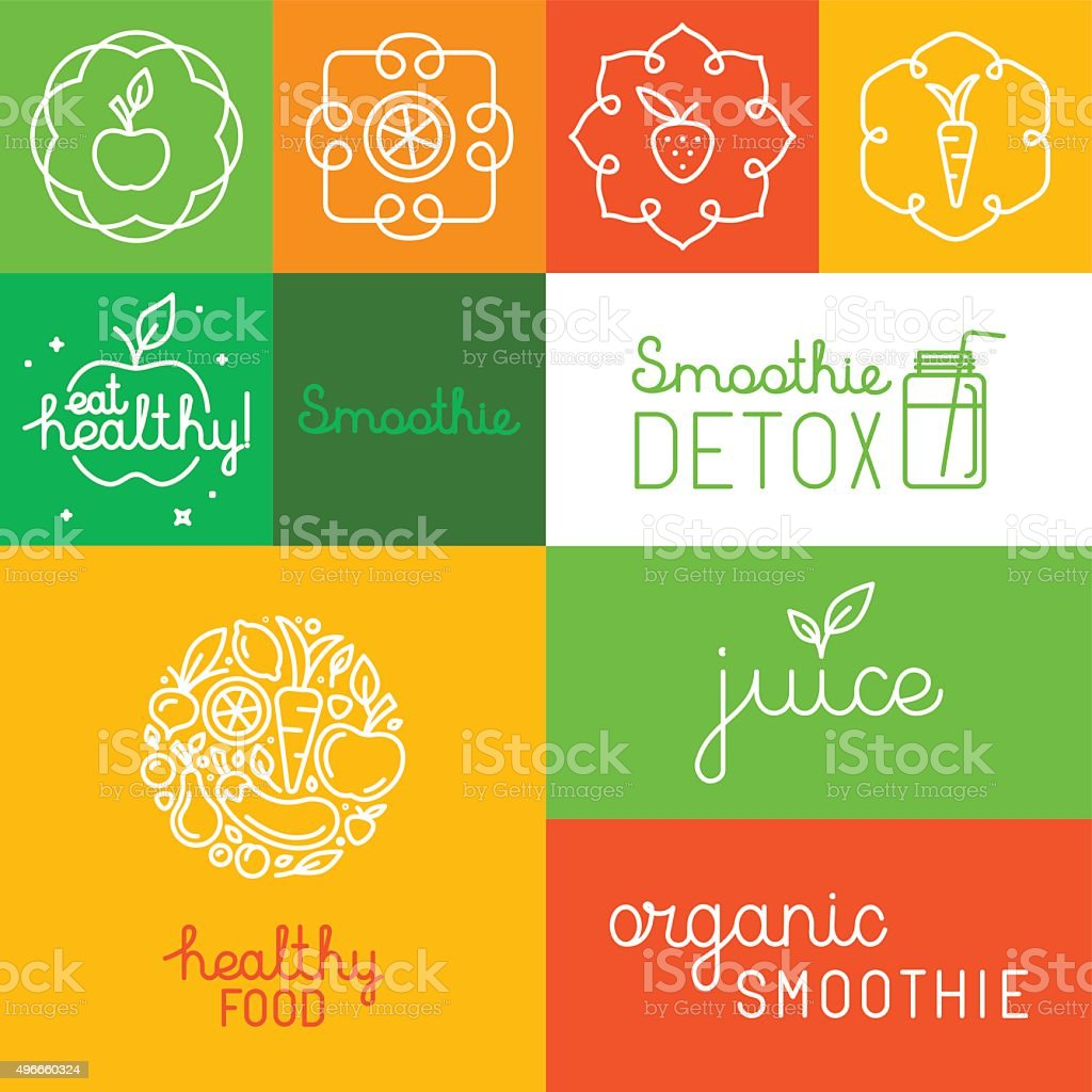 Organic juice - packaging design elements vector art illustration