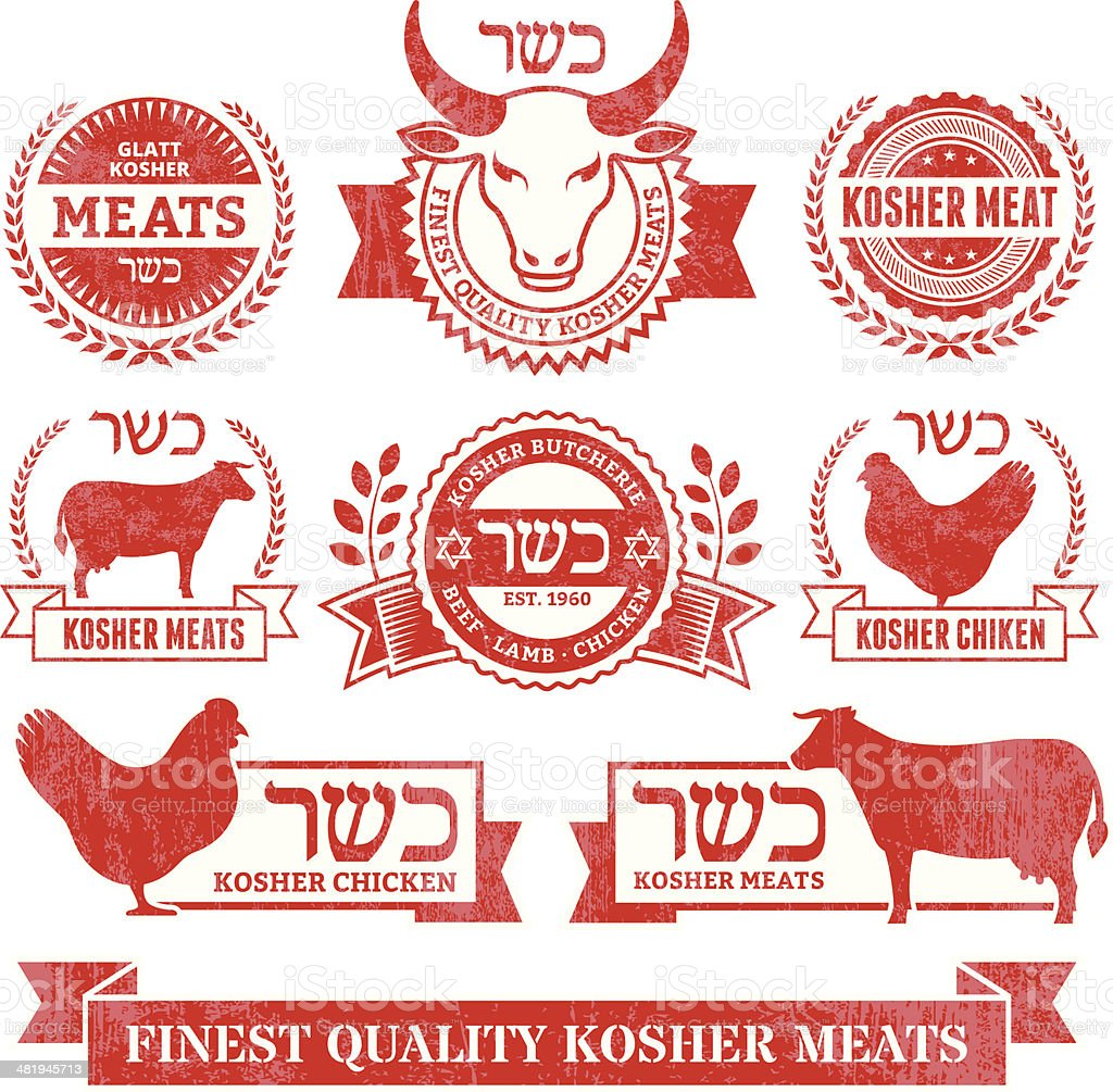 Organic Kosher Meat and Poultry Grunge vector icon set vector art illustration