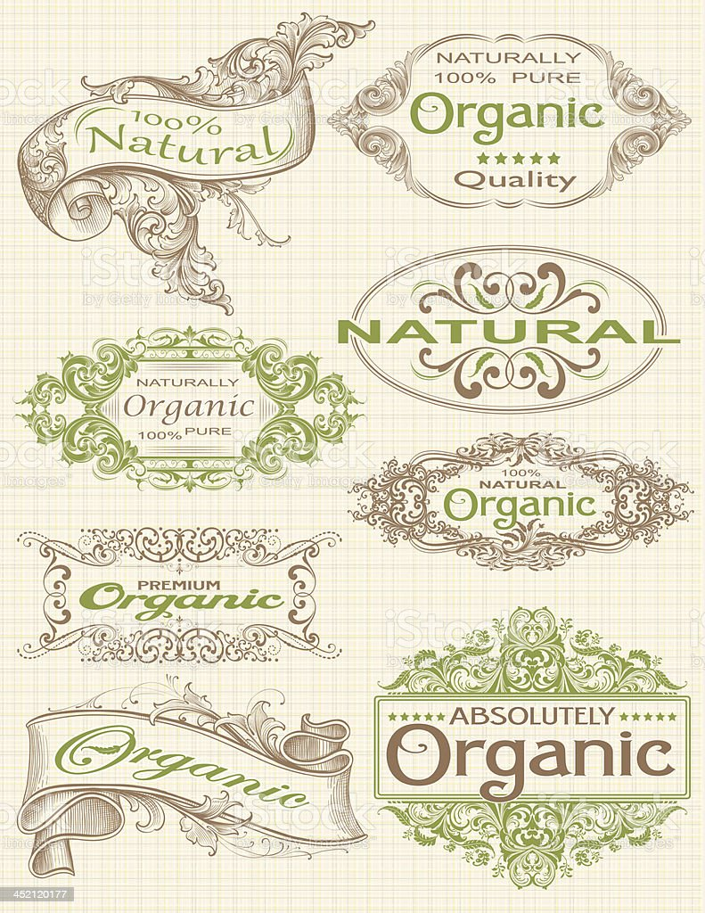 Organic Labels and Frames for products vector art illustration