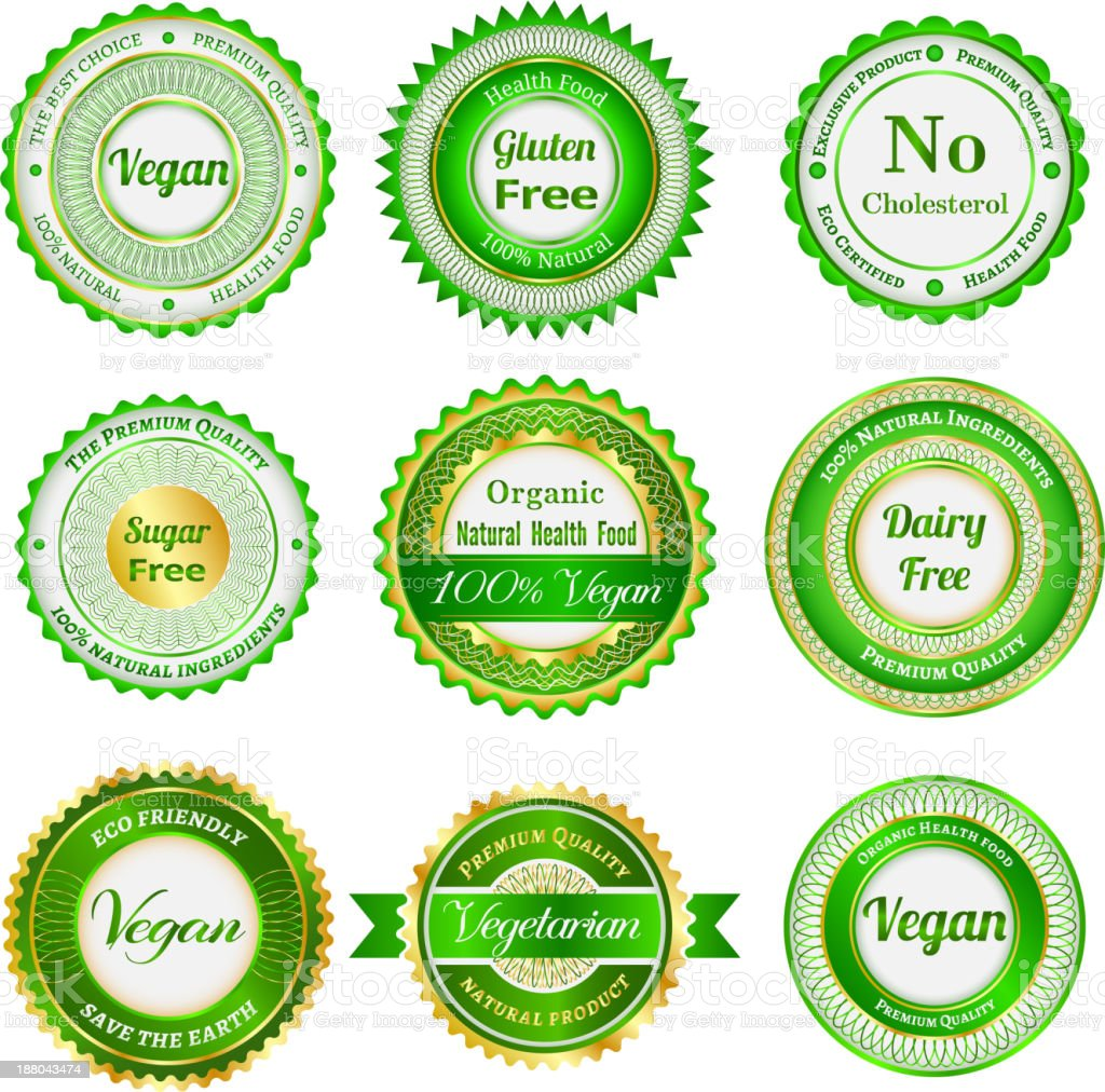 Organic labels, badges and stickers royalty-free stock vector art