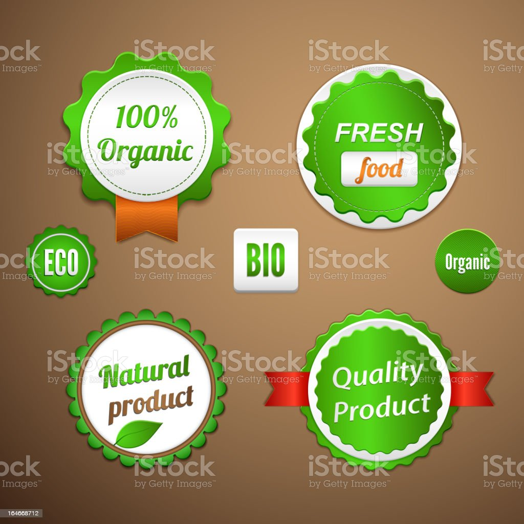 Organic labels, logos and stickers royalty-free stock vector art