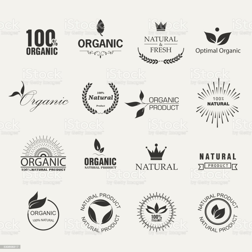 Organic Labels vector art illustration