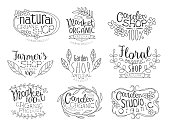 Organic Market Hand Drawn Banner Set
