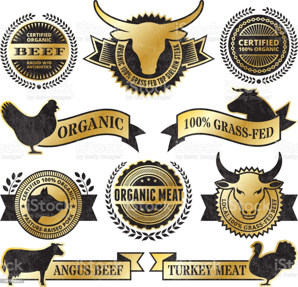 Organic Meat Poultry Grunge Black and Gold vector icon set royalty-free stock vector art