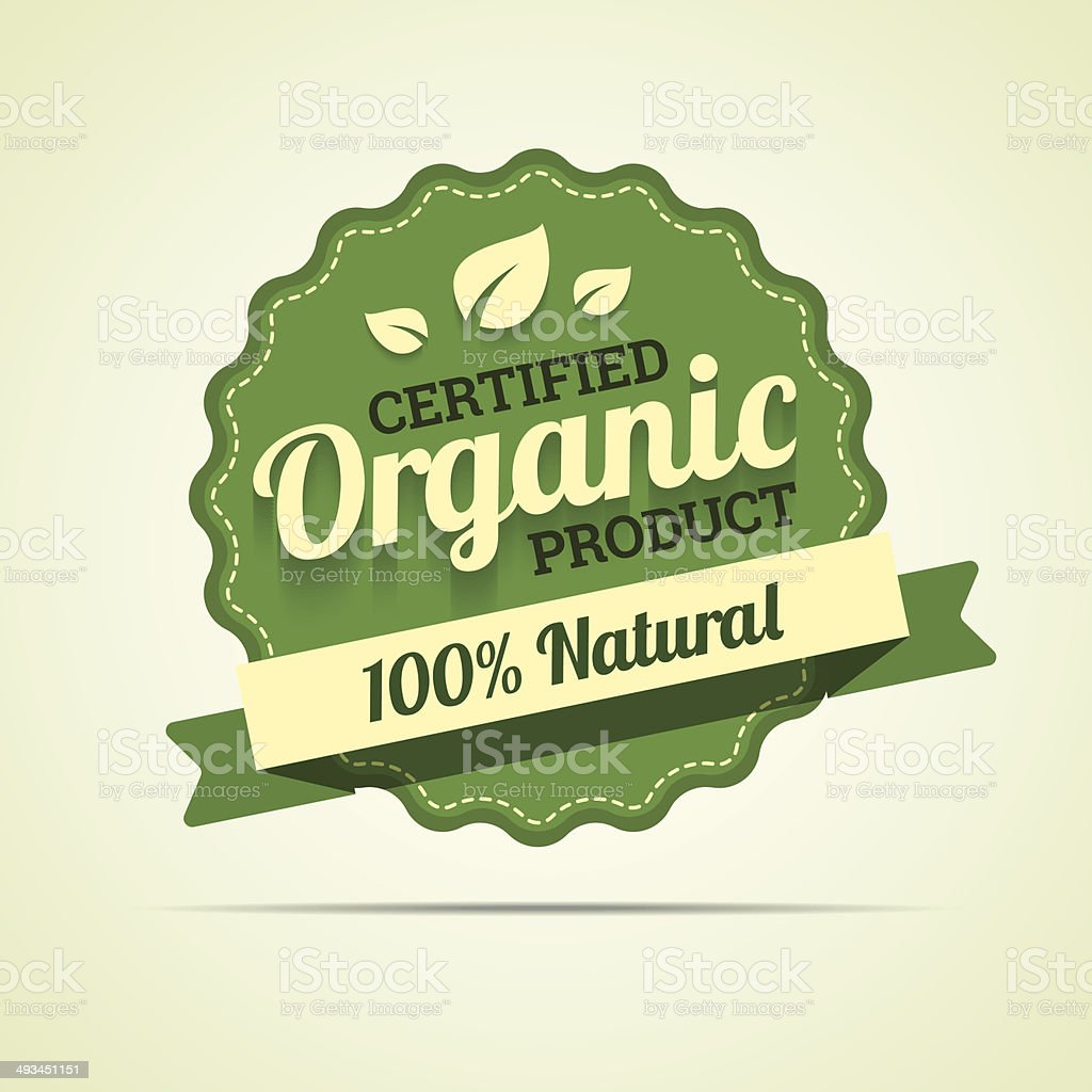 Organic product badge. vector art illustration