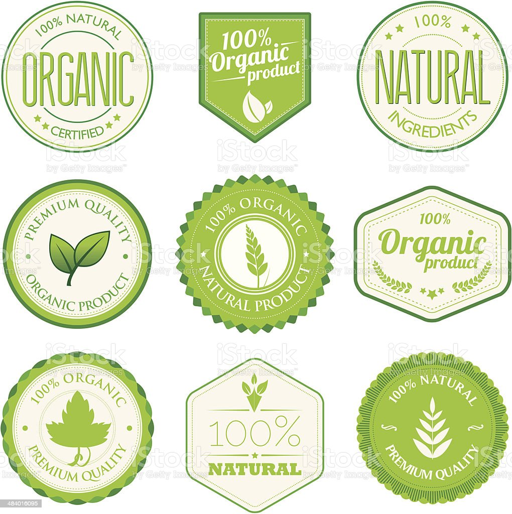 Organic product badges vector art illustration