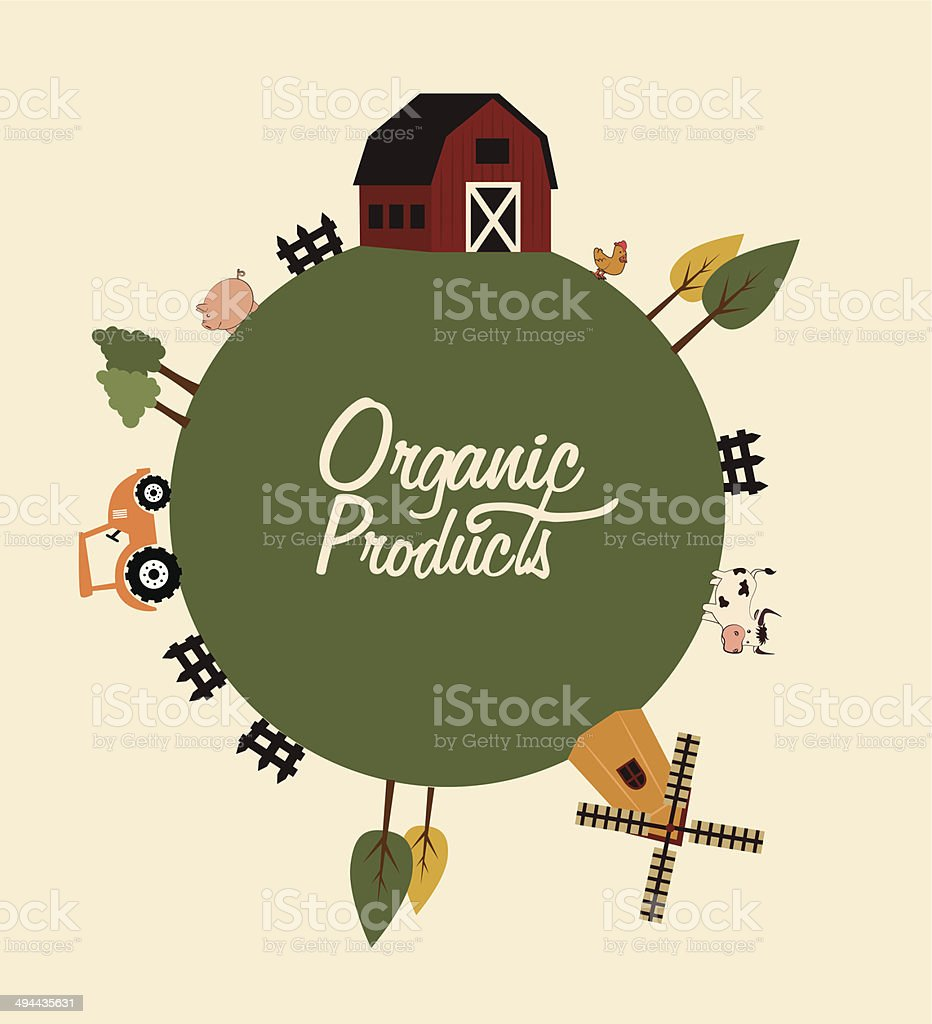 organic product label vector art illustration