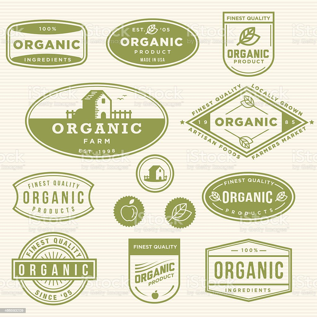 Organic Product Labels vector art illustration