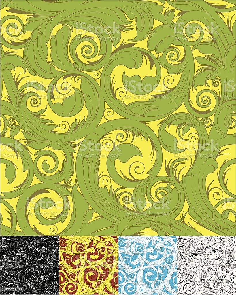 Organic Seamless floral Wallpaper vector art illustration