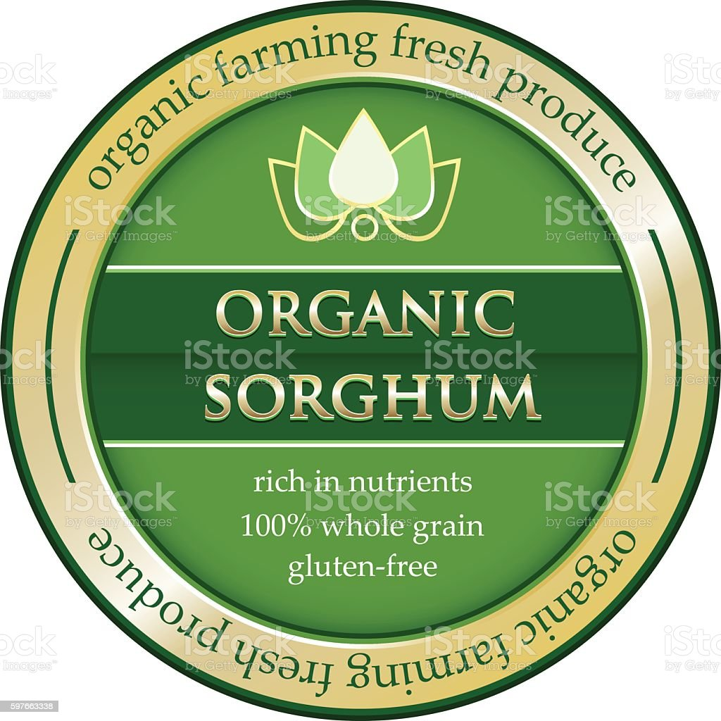 Organic Sorghum Gold Label vector art illustration