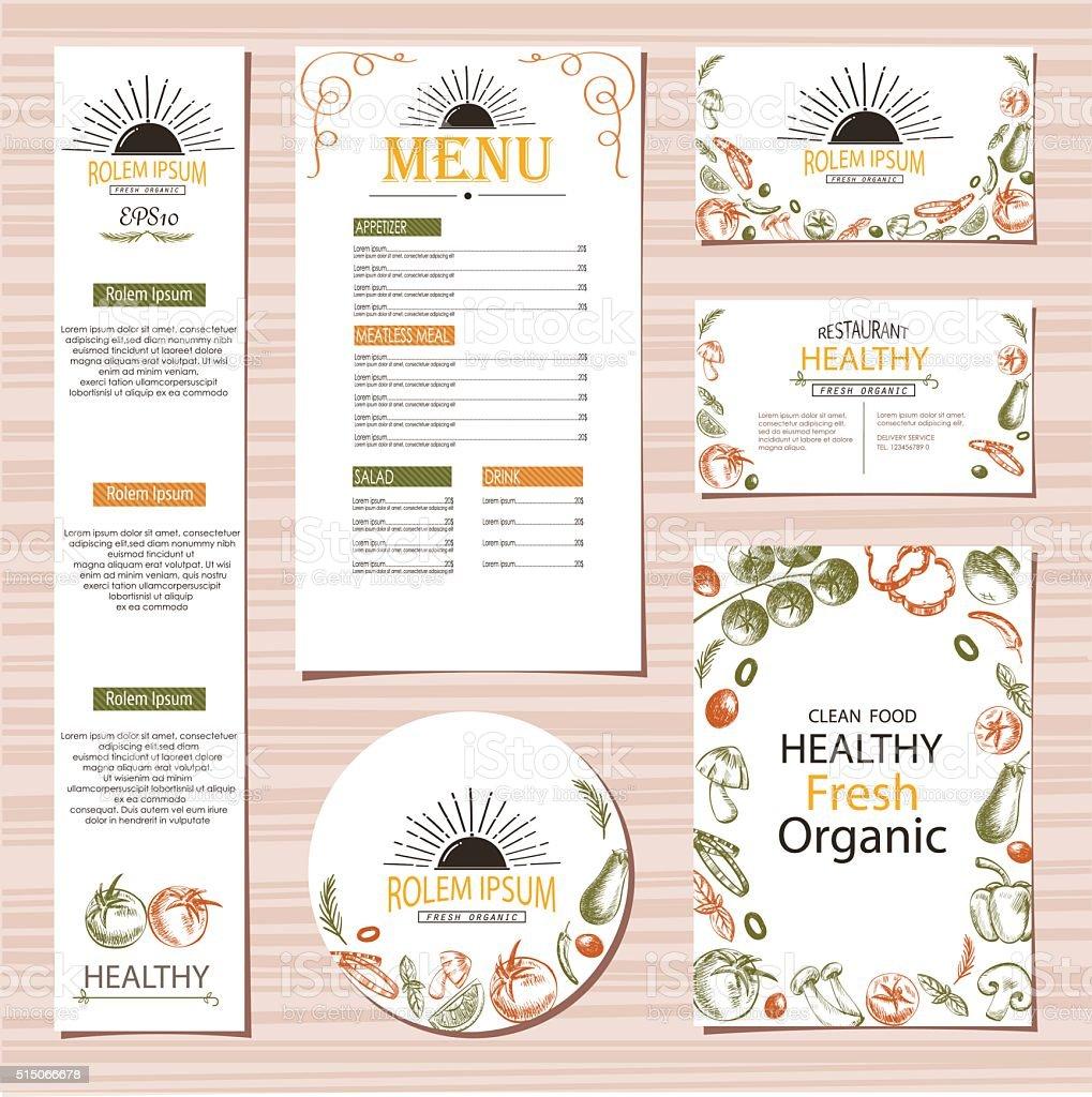 Organic vegetable farm set collection mock up vector illustration vector art illustration