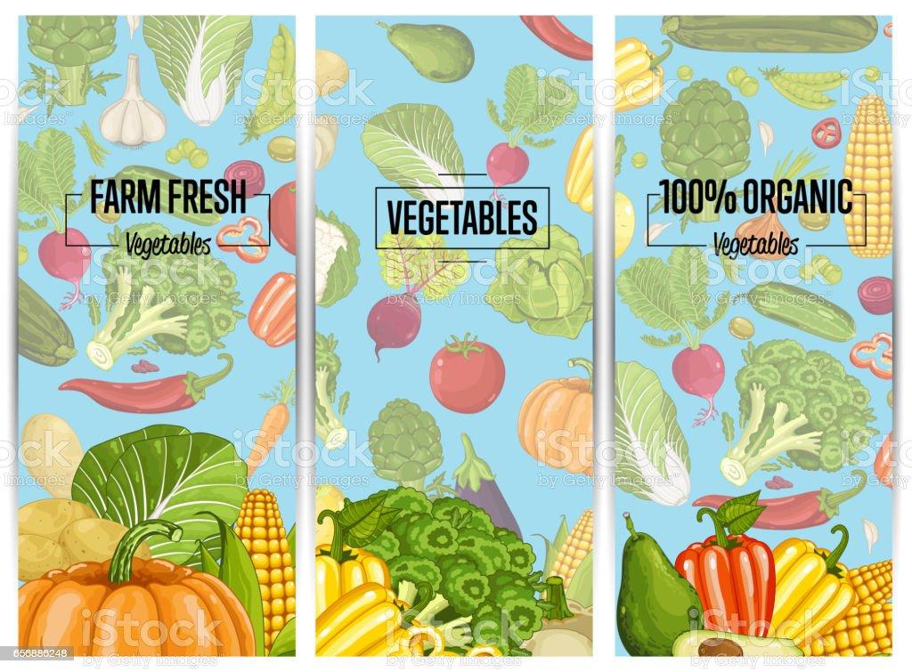 Organic vegetable farming flyers set vector art illustration