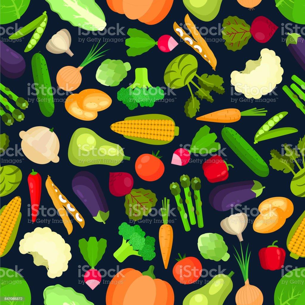 Organic vegetables seamless pattern vector art illustration