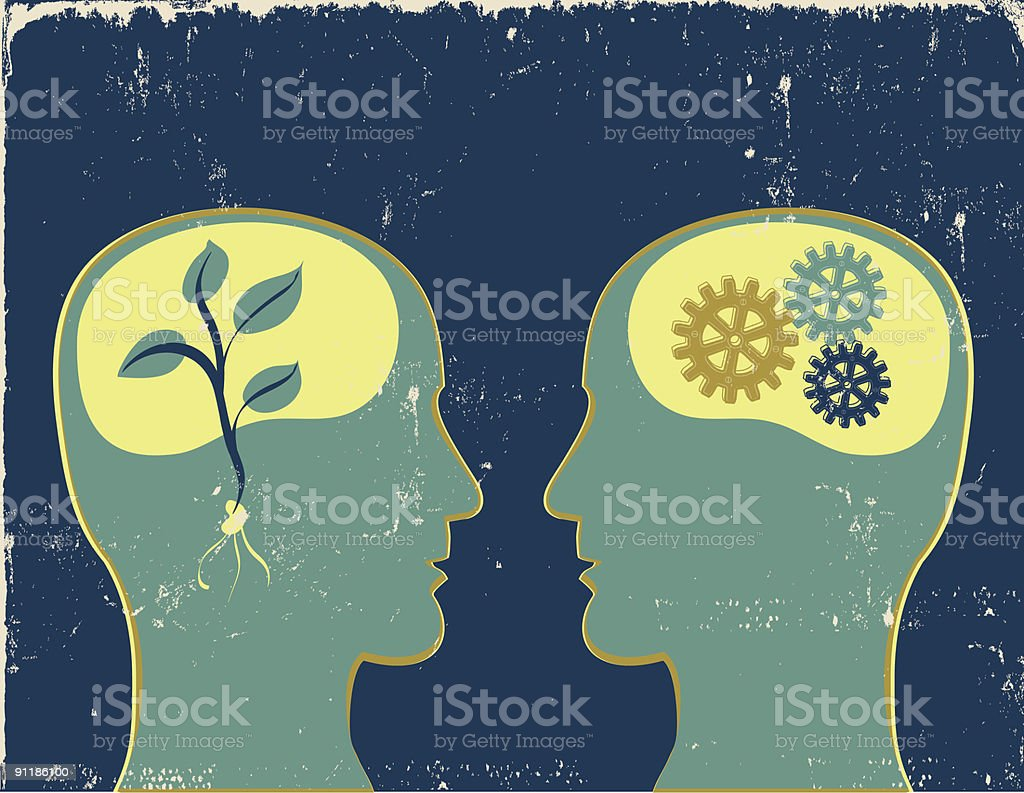Organic vs. Mechanical Thinking royalty-free stock vector art