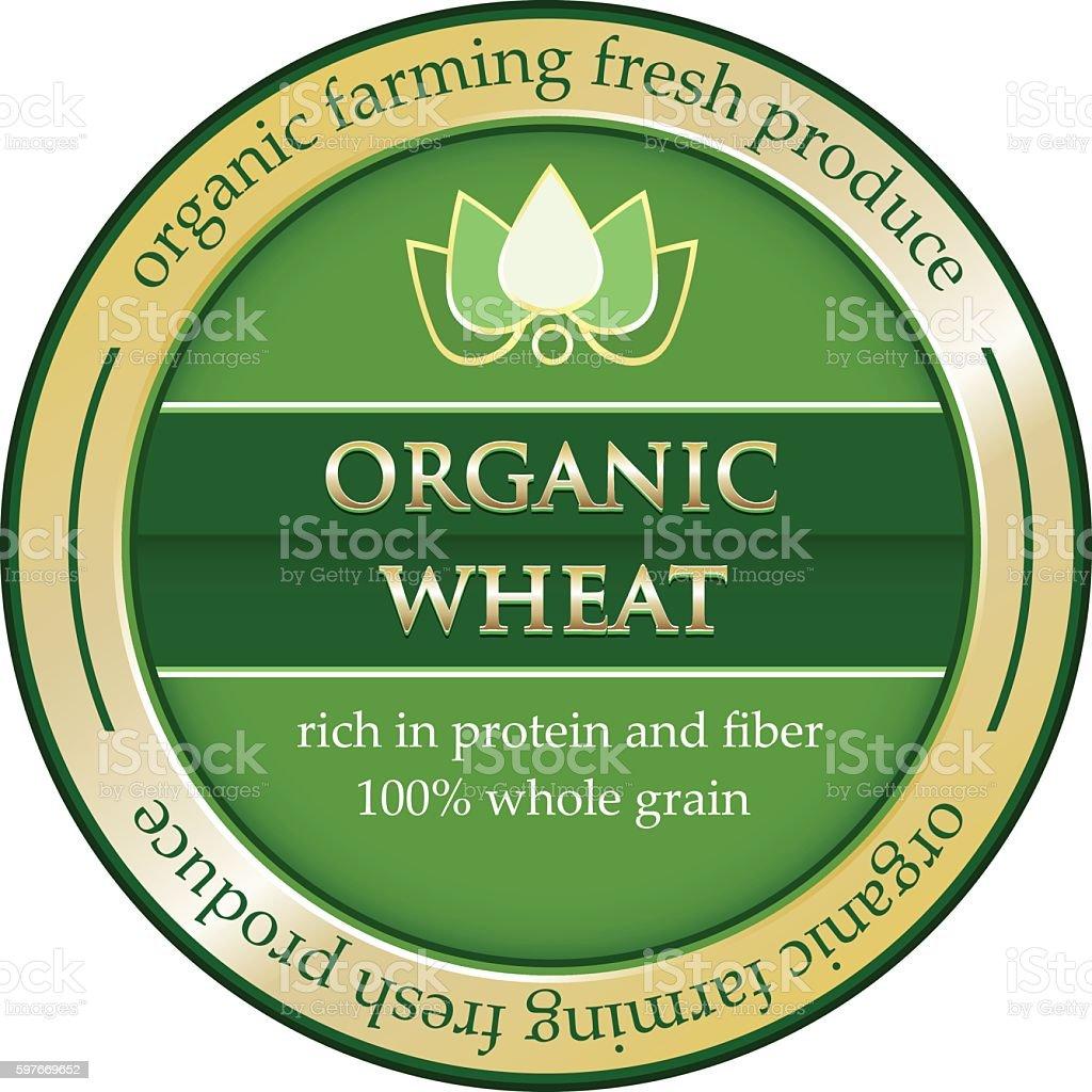 Organic Wheat Gold Label vector art illustration