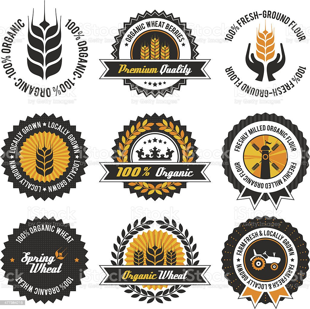 organic wheat label set vector art illustration
