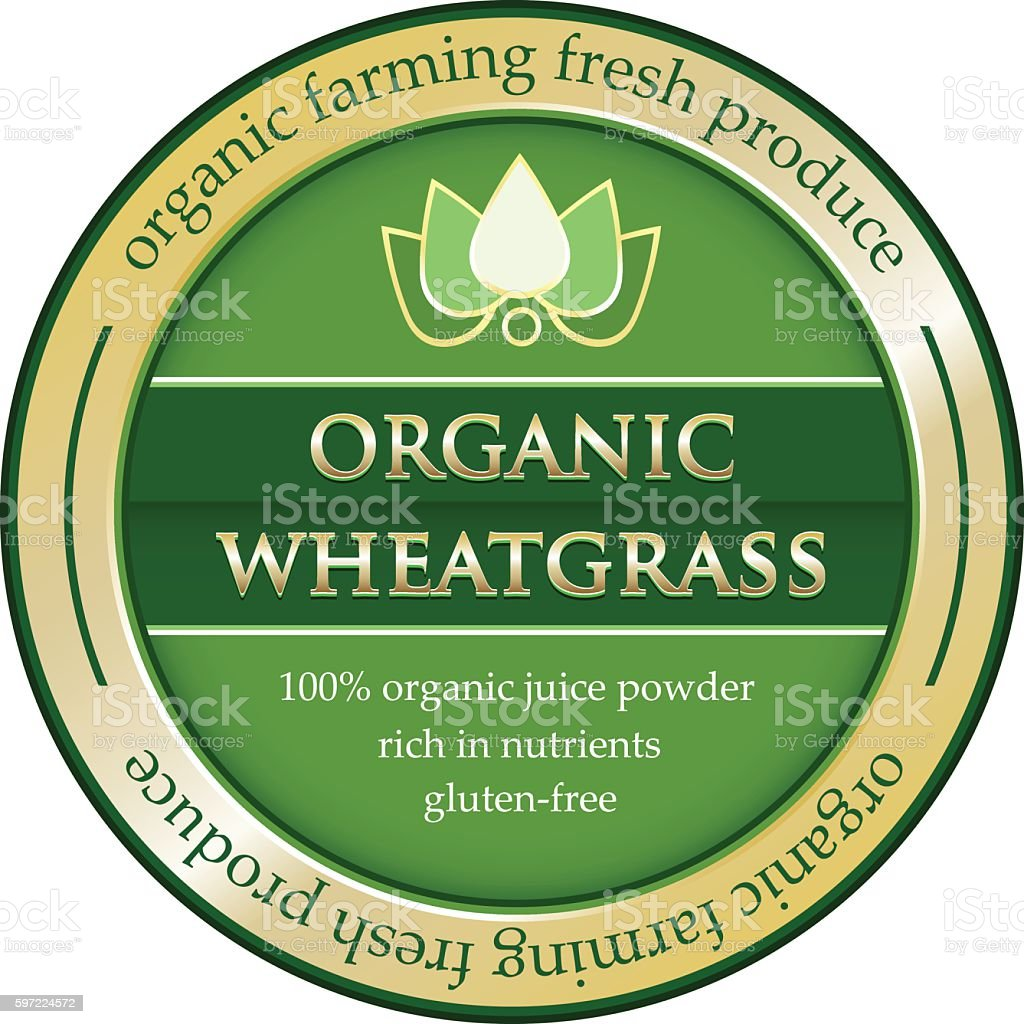 Organic Wheatgrass Juice Powder Gold Label vector art illustration