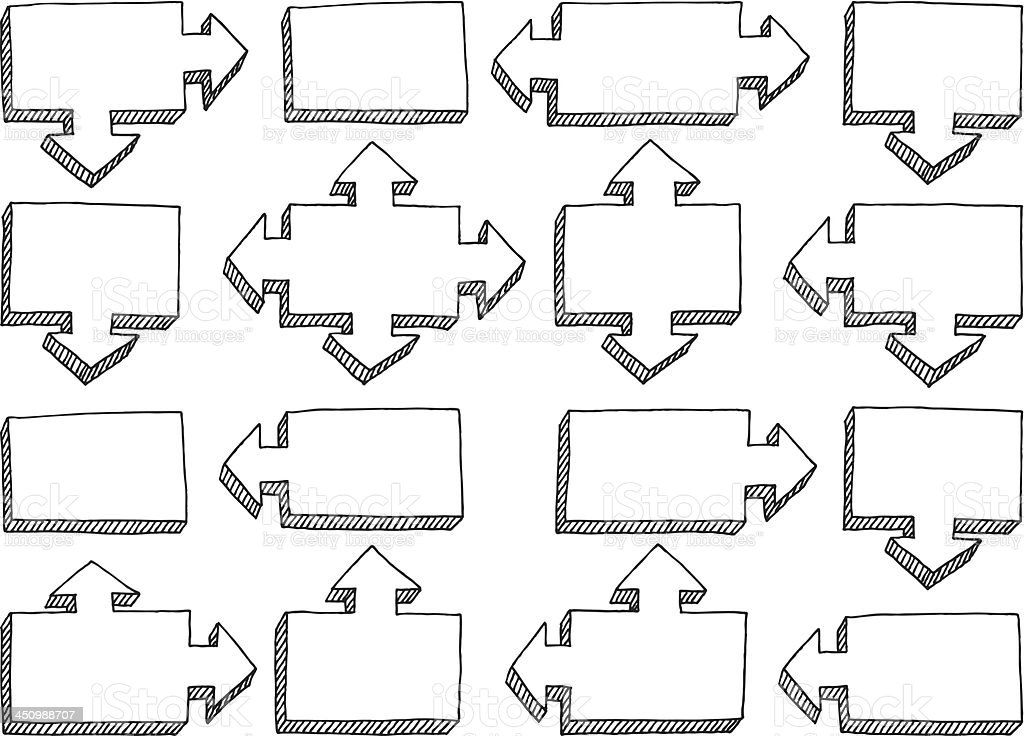 Organization Chart Arrow Elements Set Drawing royalty-free stock vector art