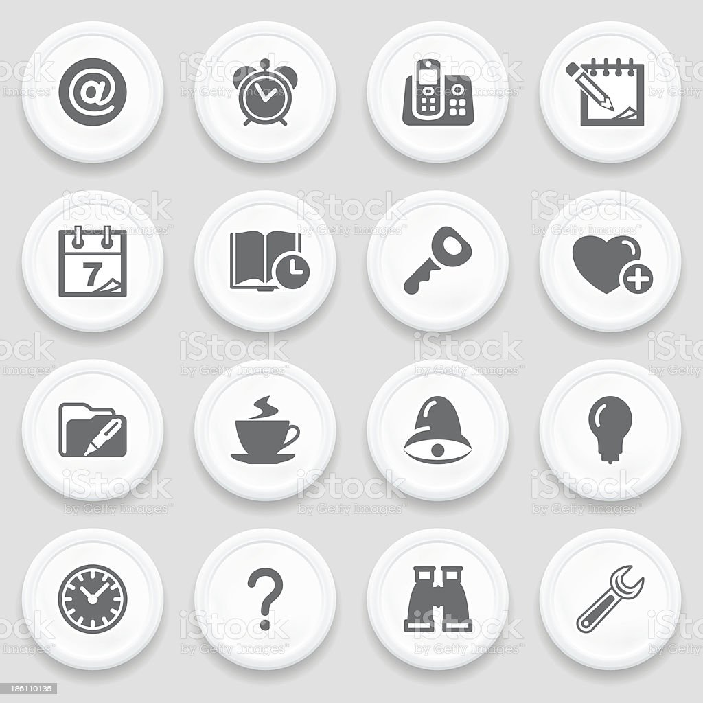Organizer black icons on with buttons. royalty-free stock vector art