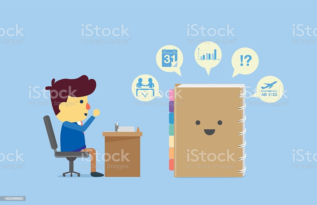 Organizer remind all to businessman in work time. vector art illustration