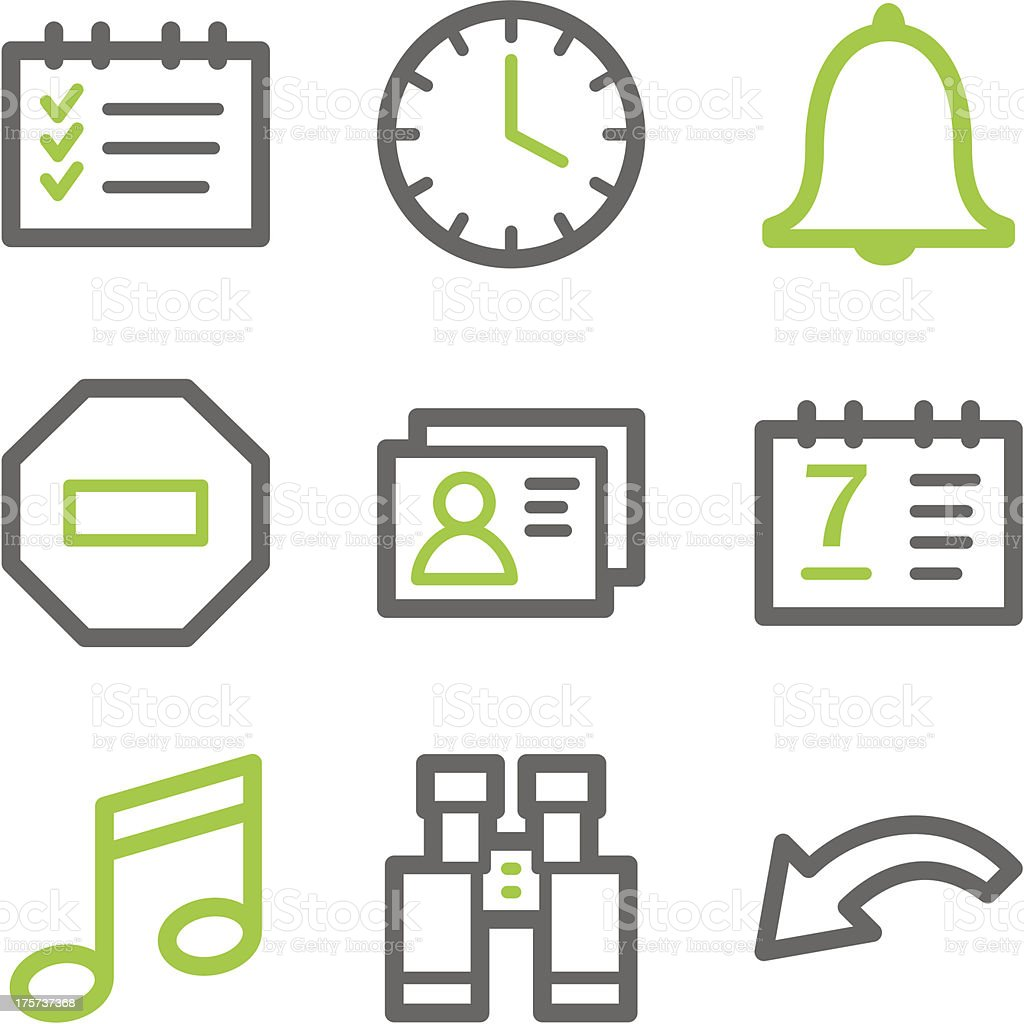 Organizer web icons, green and gray contour series royalty-free stock vector art