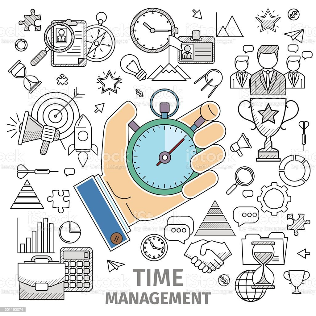 Organizes working time vector art illustration