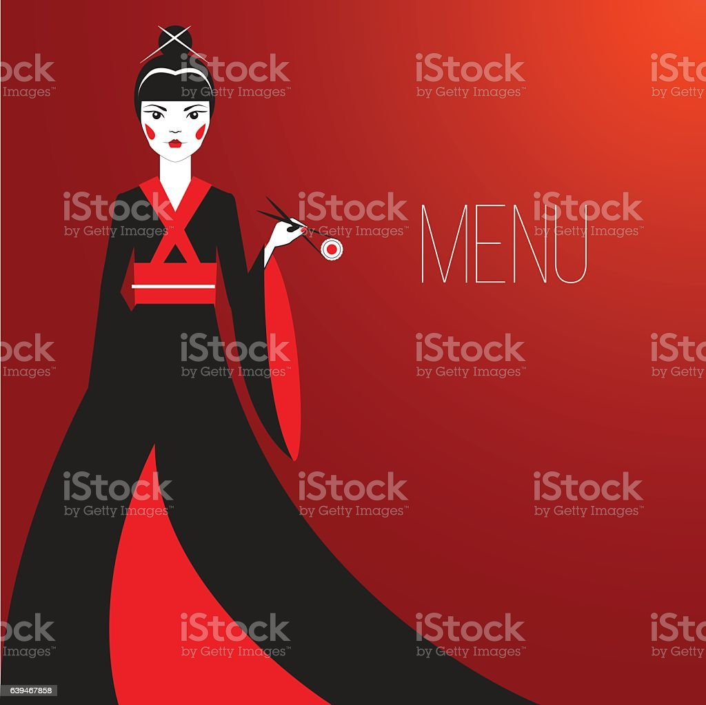 Oriantal woman with a traditional Japanese makeup eating sushi. vector art illustration